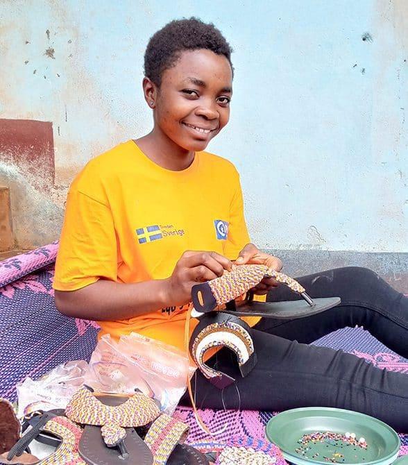 Girl Making a Shoe
