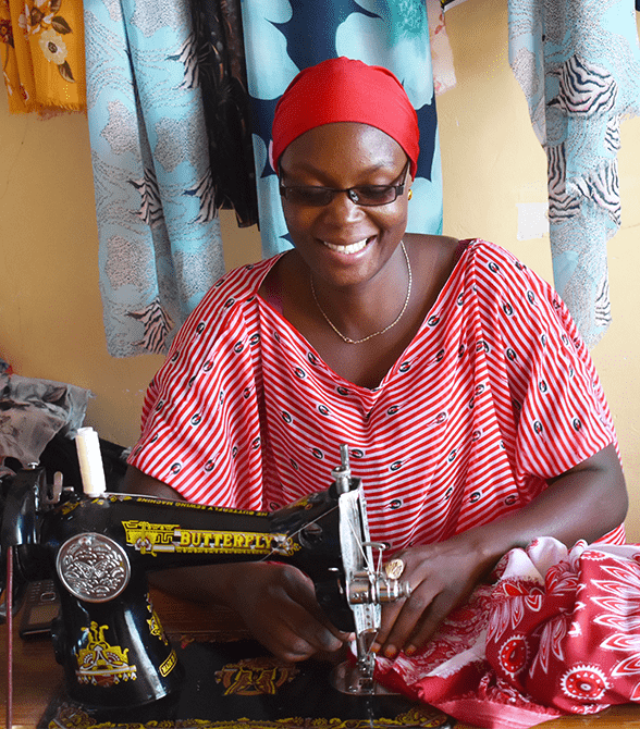 Mwajuma Sewing As A Part of Plans Youth Economic Empowerment Project