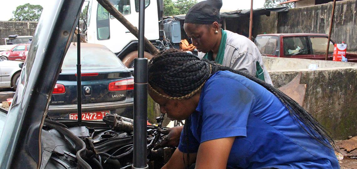 Female mechanics at work