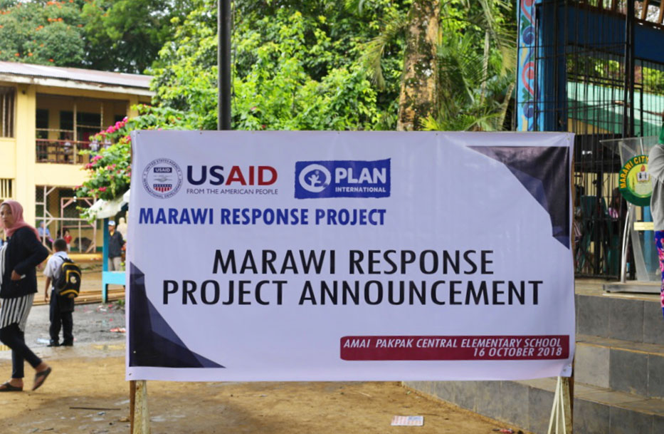 Through USAID funding, Plan is implementing the Marawi Response Project in the Philippines.